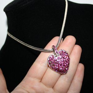 Beautiful silver pink rhinestone heart necklace